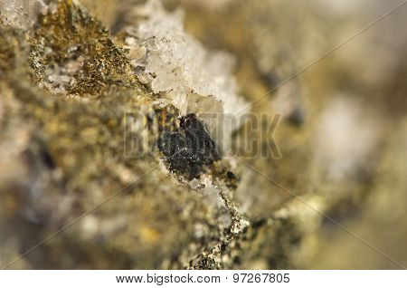 Golden Pyrite Chemical Formula Fes2. Macro