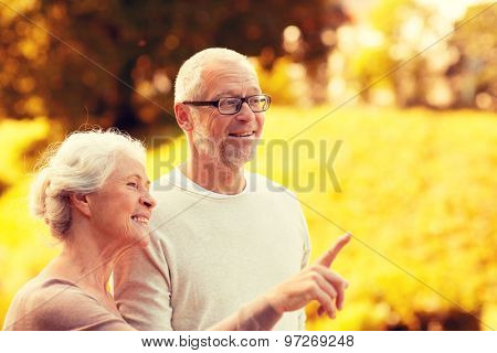 family, age, tourism, travel and people concept - senior couple pointing finger in park