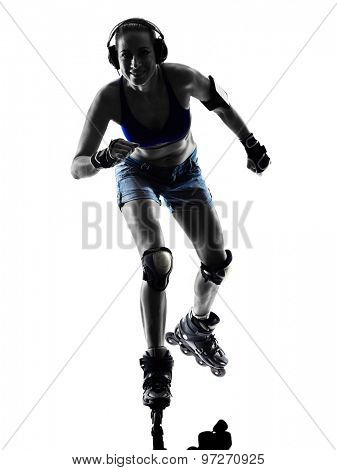 one  woman in roller skates silhouette studio isolated on white background