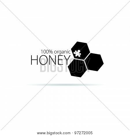 Bee And Honey Vector In Black Color