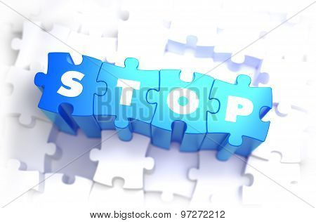 Stop - White Word on Blue Puzzles.