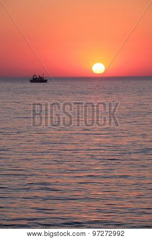 Landscape with the image of a sea sunset