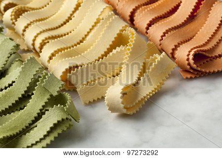 Traditional festive Italian Pasta tricocolore close up