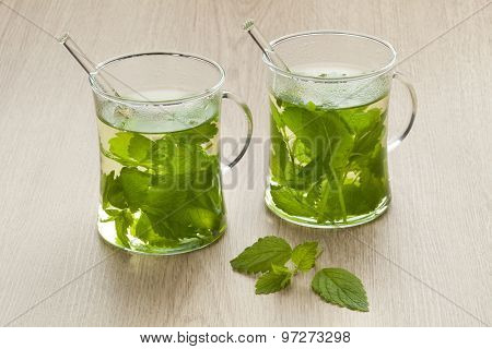 Glasses with fresh Melissa officinalis tea