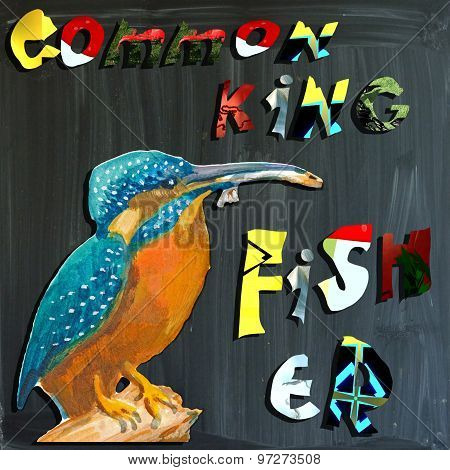 Joyous Child-s World, Mixed Media, Bird, Common Kingfisher