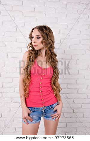 Beautiful Girl With Very Long Hair Standing On White Background