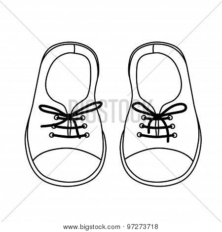 Hand Drawn Pair Of Kids Shoes