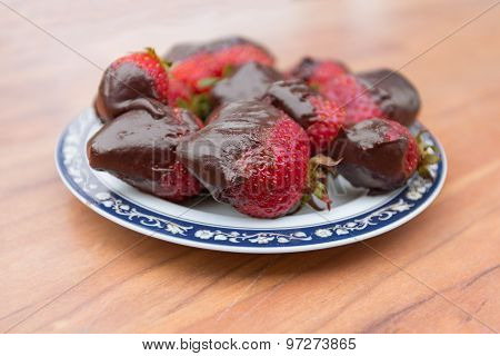 Red Strawberries In Chocolate