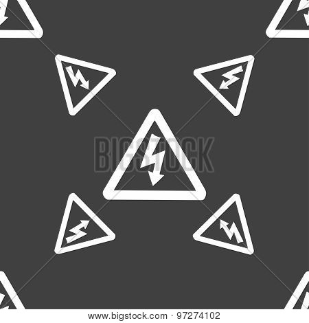 Voltage Icon Sign. Seamless Pattern On A Gray Background. Vector
