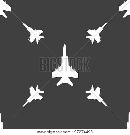 Fighter Icon Sign. Seamless Pattern On A Gray Background. Vector