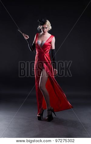 Girl In A Red Dress With A Cigarette