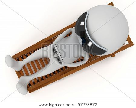 3D White Man Relax With Smartphone