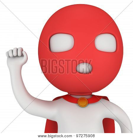 3D Man Brave Superhero With Red Cloak