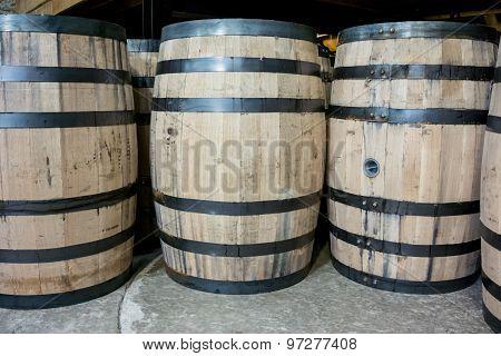 Bourbon Barrels From Side