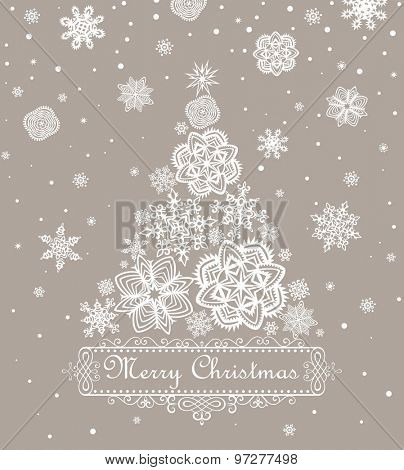 Retro paper Xmas greeting pastel card
