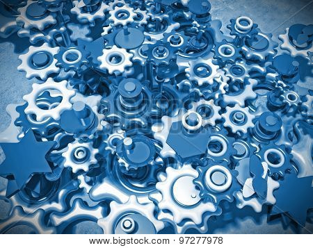 3d image of different blue gears