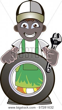 Cartoon mechanic with car tire and holding a spanner or wrench.