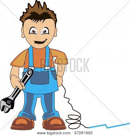 Plumber dressed in clothes of work, a tool in the hand