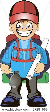 Cartoon traveler with a large backpack and map. Backpacker illustration.
