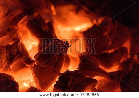 Log Fire Close Up
