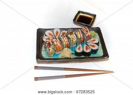 Sushi rolls, chop sticks