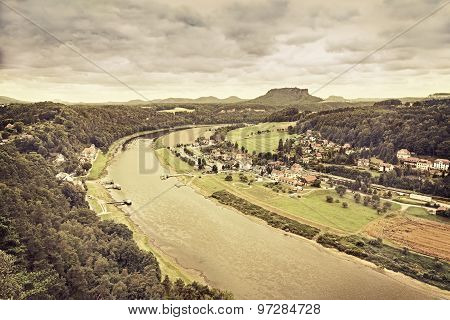 Sepia Toned Panoramic View Of Rathen, Germany.