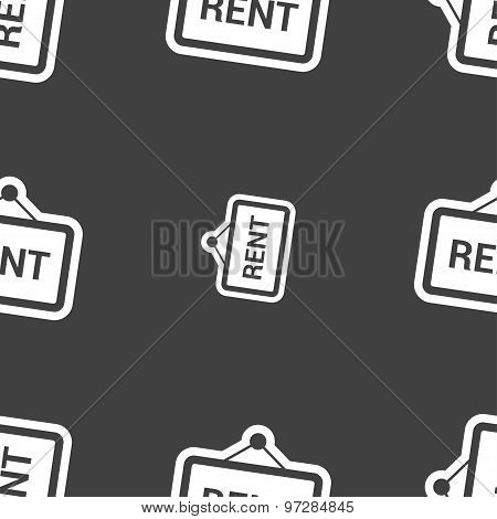 Rent Icon Sign. Seamless Pattern On A Gray Background. Vector