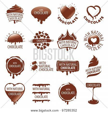 Large Set Of Vector Logos Chocolate