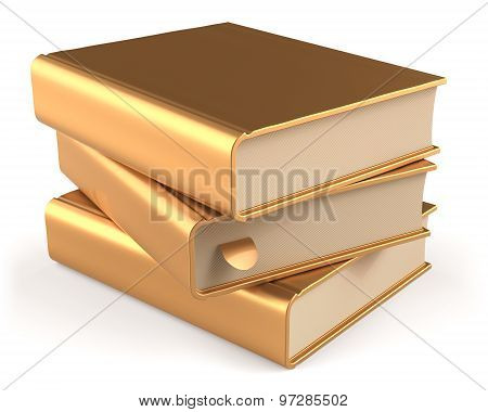 Books Textbook Stack Golden Three 3 Blank Yellow Gold Icon