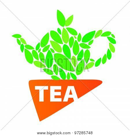Vector Logo Tea Leaves And Napkin