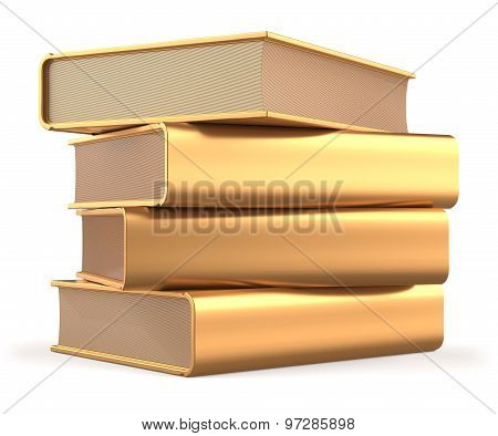 Goldan Books 4 Textbooks Stack Gold Blank Yellow Answers