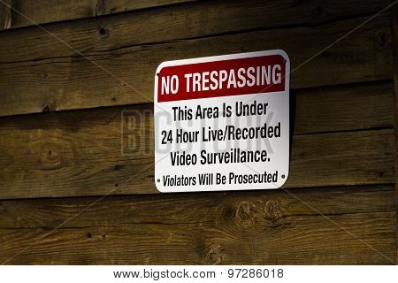Red No Trespassing Sign