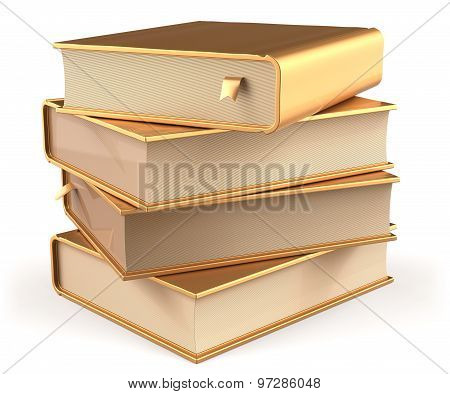 Books Golden Four 4 Textbook Stack Blank Yellow Gold Icon