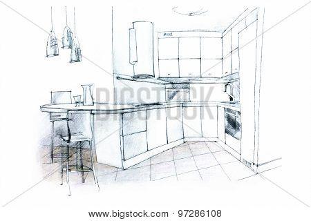 Hand Sketching Of A Kitchen Interior