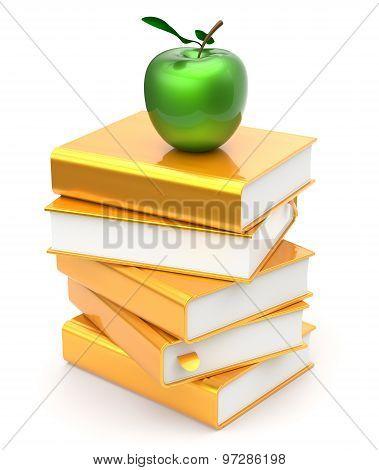 Books Stack Golden Yellow Textbooks Apple Green Education