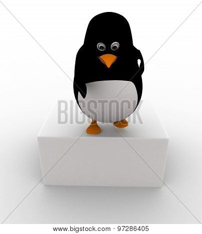 3D Penguin Leaning Down To Help Concept
