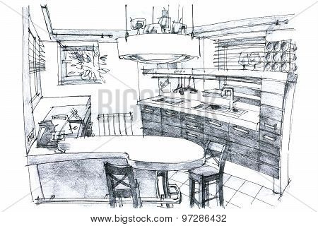 Crayon Painting Illustration Of A Kitchen