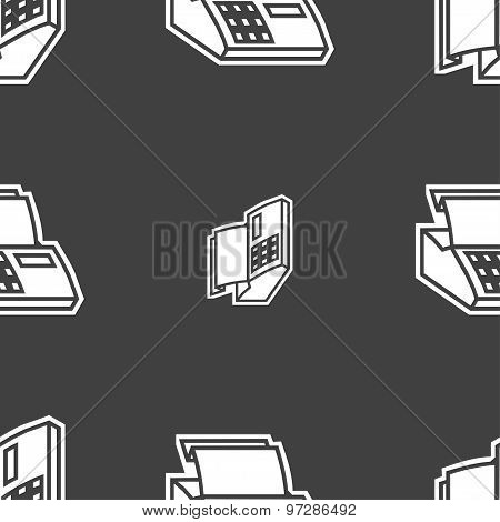 Cash Register Machine Icon Sign. Seamless Pattern On A Gray Background. Vector