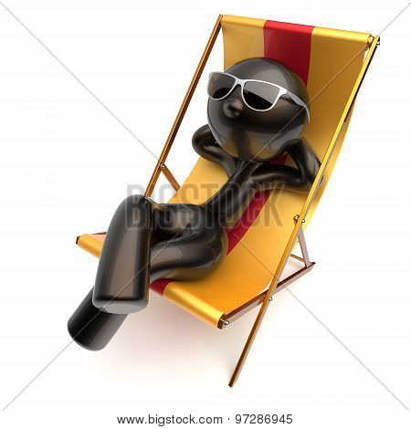 Man Carefree Beach Deck Chair Chilling Relaxing Stylized Icon