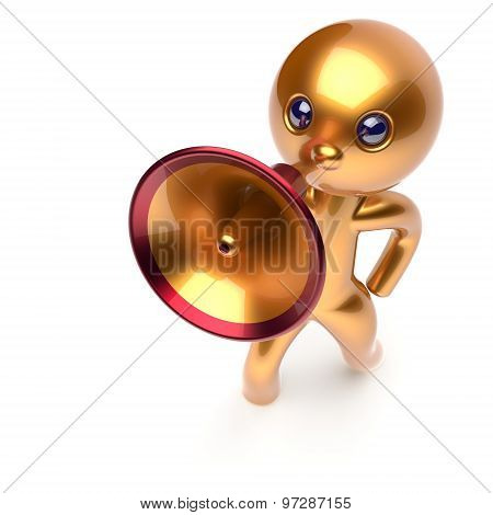 Megaphone Man Character Promotion Speaking News Golden