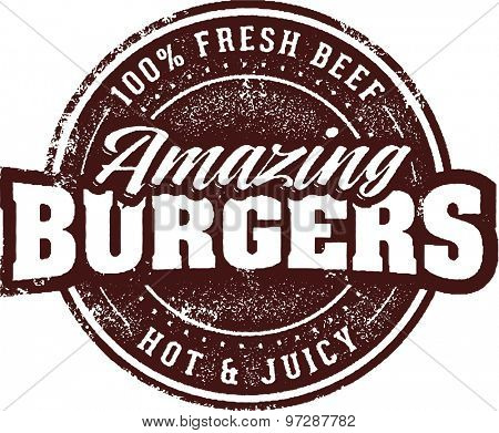 Amazing Burgers Vintage Restaurant Menu Sign