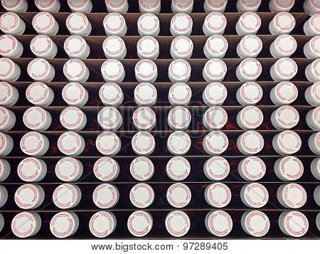 Prescription vials from top