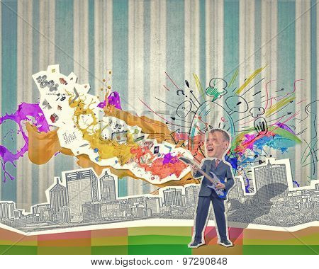 Young businessman playing guitar at composite collage background