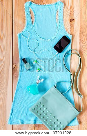 Shirt And Accessories Blue Casual Style