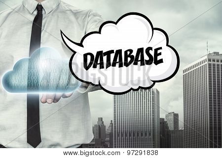 Database text on cloud computing theme with businessman