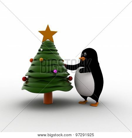 3D Penguin Decorate With Christmas Tree Concept