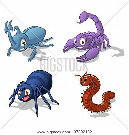 Insect Cartoon Character Vector Illustration Pack Four Include Hercules Beetle, Scorpion, Spider an