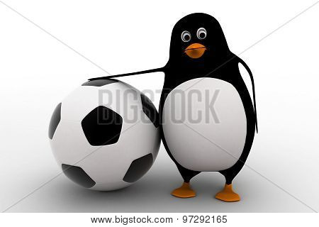 3D Penguin With Big Football Ball Concept