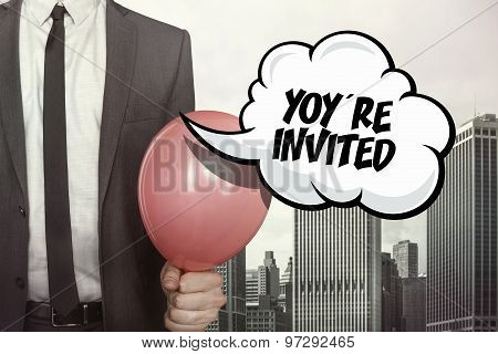 Youre invited text on speech bubble