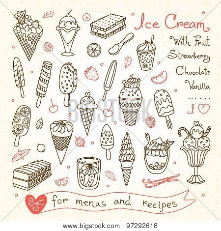 Set drawings of ice cream for design menus, recipes and packages product.